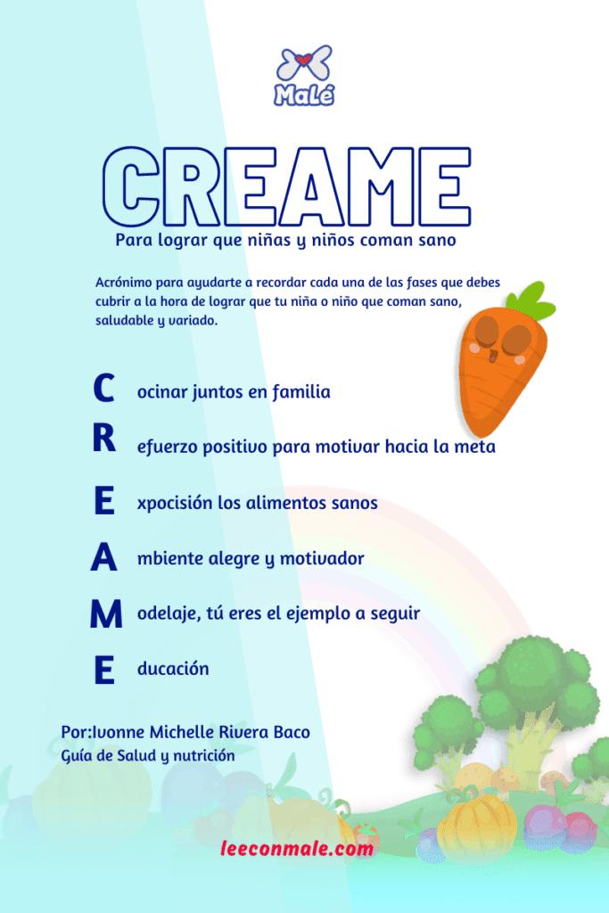 CREAME alimentación niñas y niños